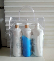 Hot selling portable hand length handle clear PVC plastic bag for toilet articles/ portable toiletries packaging bag for a trip