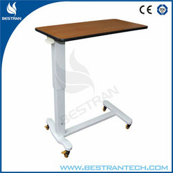 China BT-AT004 Hospital medical patient over bed table, height adjustable bed table with wooden top