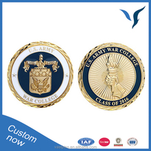 Cheap High Quality Custom Navy Old Gold Commemorative Coin Crafts With Diamond Border