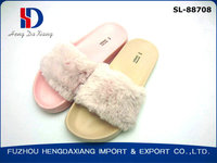 pink slipper fur sandal for ladies