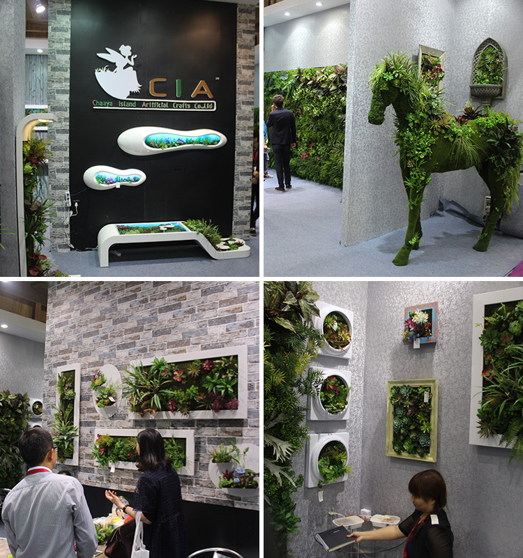 Lush bush fake wall panels system artificial green leafy for Artificial plants for interior decoration