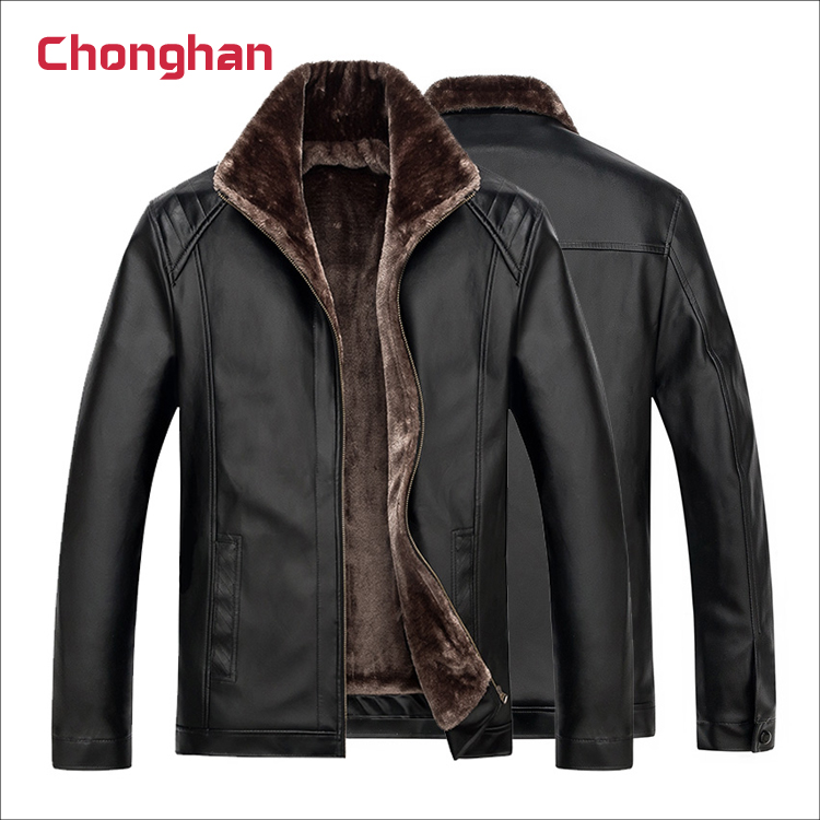Chonghan Best Selling Black Colour Leather Jackets Apparel Stock Lots For Men