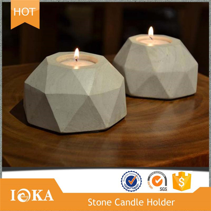 Cheap Nature White Stone Candle Holder in Attractive Designed