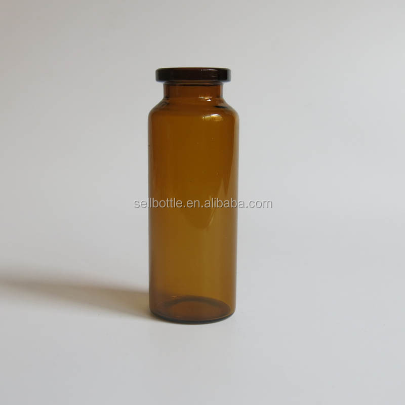 Wholesale Amber clear glass vials with rubber stopper 20ml