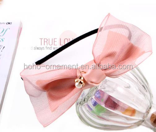 hotselling beads plastic large hair big knitted bow headbands for sale