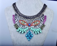 NK0463 European and American fashion Statement Crystal Necklace,Owl shape Colorful Gemstone Necklaces