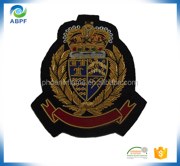 High quality India Wire badge pin embroidery patch for police unifroms