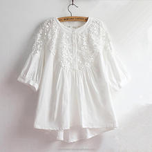 monroo Vintage Hollow Out Lace Shirt 2017 Spring Summer Women Embroidery Half Sleeve Linen Cotton Tops Cute O-Neck White Blouse