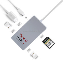 USB C Hub to 4K HDMI 3.0 ports SD Card Reader USB C Power Delivery for New Macbook Pro, Dell Xps and More