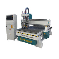 Hot sale 1325 cnc router with vacuum table, three heads jinan cnc router wood for furniture cabinets