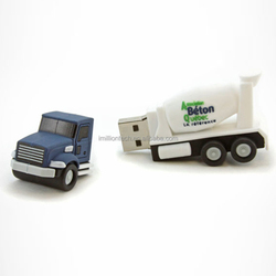 3d cement truck usb , new design&high quality custom 3d pvc chocolate sugar usb with customize logo