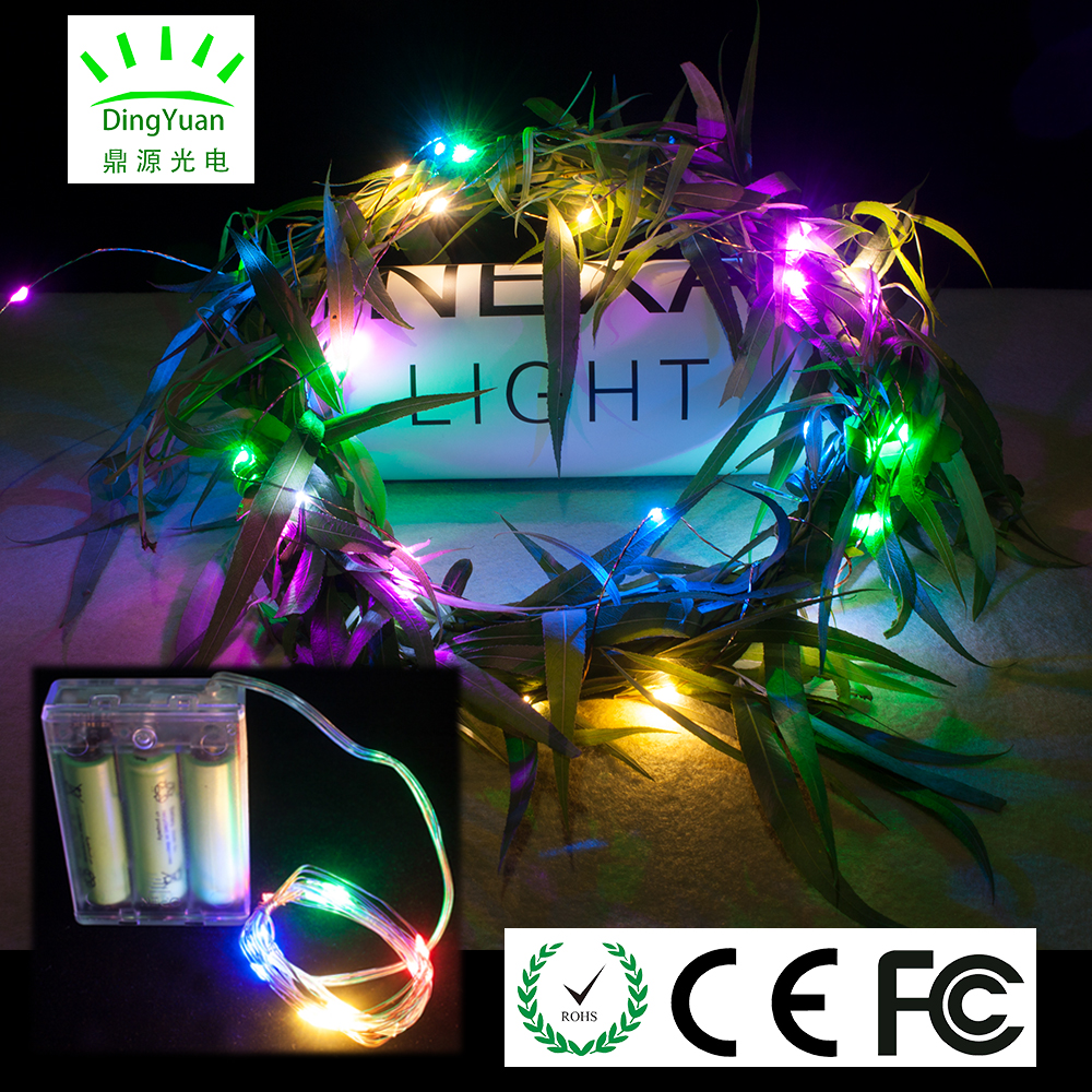 Factory direct high quality 4 multicolors 2m 20L copper led wire light for halloween holiday party event decoration