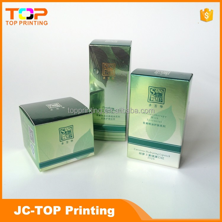 Skin care green paper box with different shapes for sale