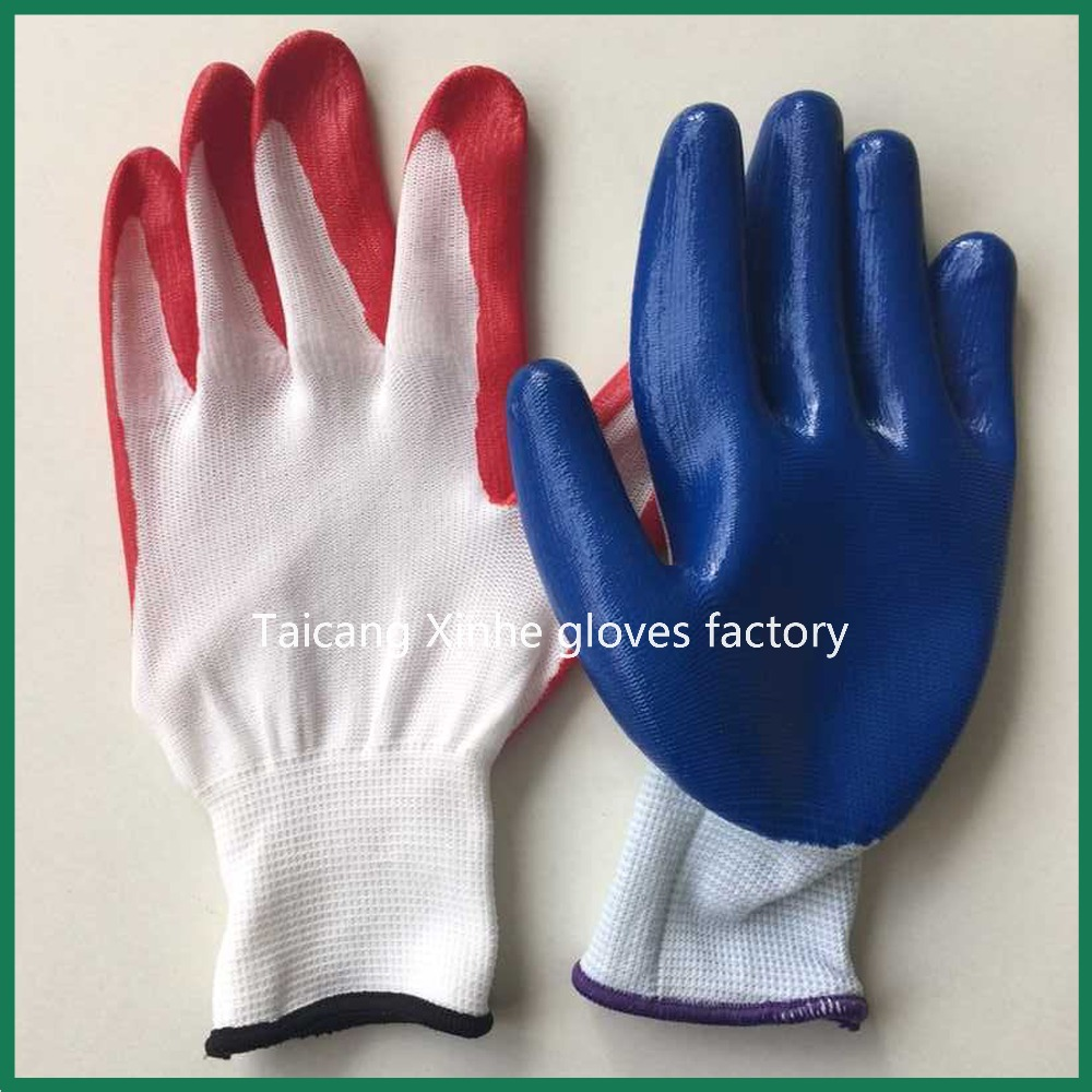13 gauge polyester nitrile coated industrial gloves/anti-static working glove