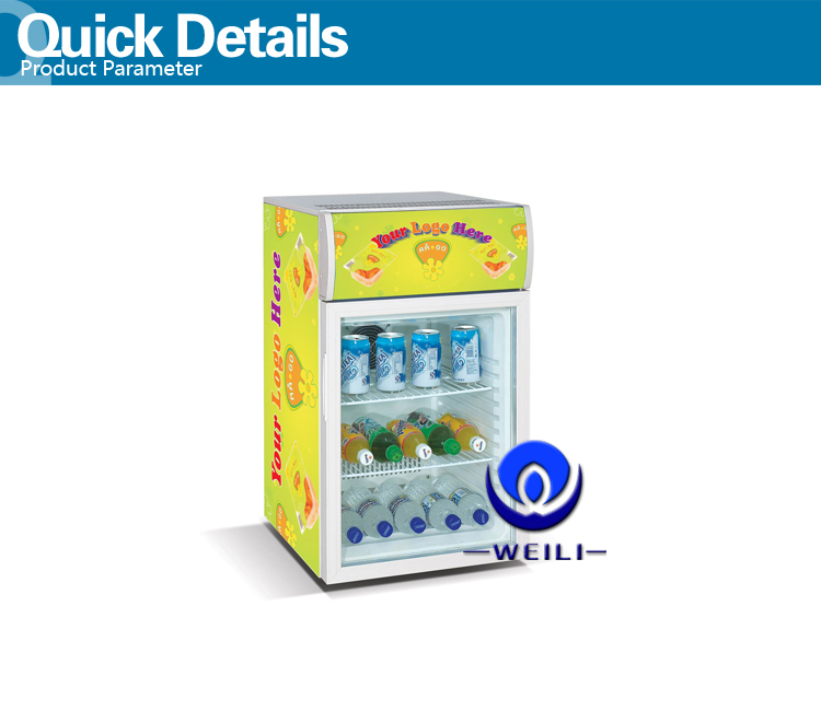 50l electronic temperature controll table top freezer mini fridge with CE and compressor