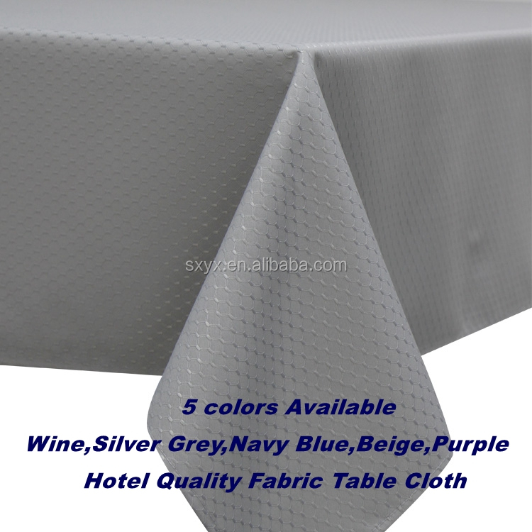 Hotel Quality Decorative Polyester Tablecloth Waffle Fabric Table Linen Spillproof Heavy Weight Tablecloth, 60x84in silver grey