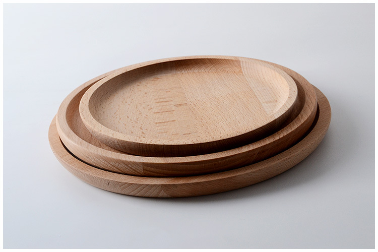 simple design round wooden tray for coffee and tea serving