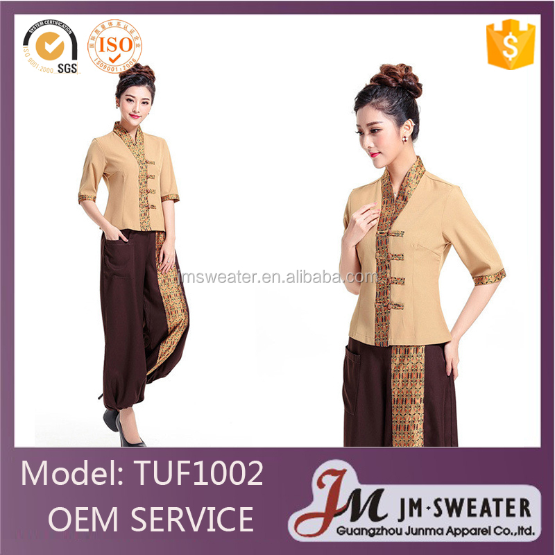 Fashion uniform design working uniform wholesale custom thai spa uniform