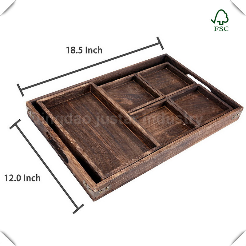 Wood Rectangular Nesting Breakfast Coffee Table Butler Serving Trays