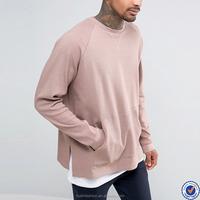 china top ten selling products mens raglan long sleeve custom sweatshirt wholesale side splits pouch pocket crewneck sweatshirt