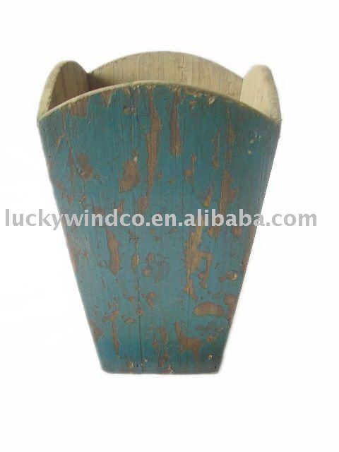 rust blue painted square french garden antique wooden planter