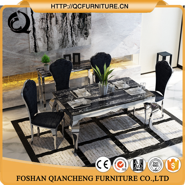 Factory manufactured steel legs faux stone marble slab top dining laminated table