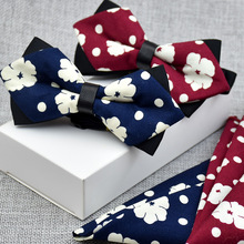 Style high quality colorful man bow tie and pocket square