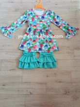 spring beauty and popular multicolor flower patterns ruffle dress and 100%cotton pants children clothes girls