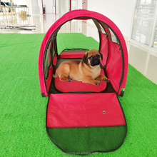 poray new 2 tunnels red color dog cage tent 600D oxford waterproof 1000 pet tent for dog & cat small animals
