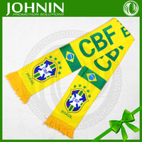 2015 hot sales OEM NO MOQ eco friendly polyester brazil logo printing fans scarf