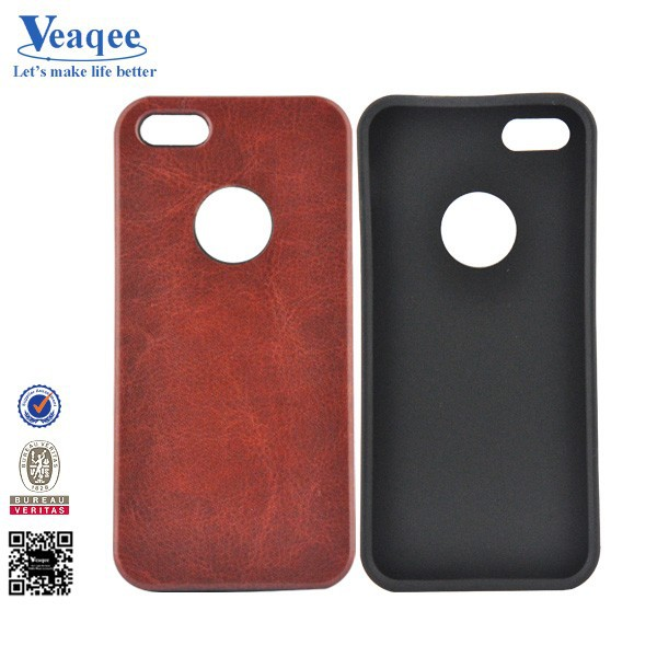 Veaqee new design flip tpu+leather case for iphone 5c