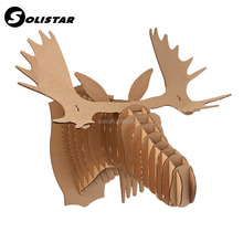 art mind creative design DIY custom carved wood animal head wall decoration home decor with high quality