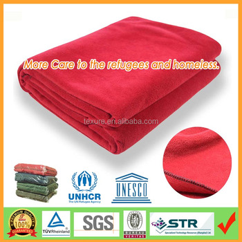 150x200cm Refugee Blanket Disater Relieaf Blanket Heavy Fleece Blanket for Homeless People by Reliable Factory over 10 years