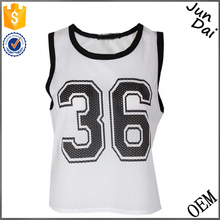 2016 Lastest Fashion Ladies Basketball Wear Knitted White Vest