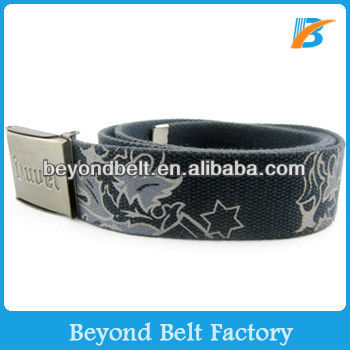 Beyond Military Printed Cotton Canvas Belt with Metal Bottle Opener Buckle