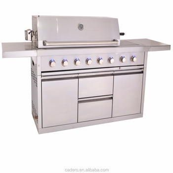 CBU-611-A-L Full stainless steel gas grill with side burner and rear infrared burner, and rotisserie