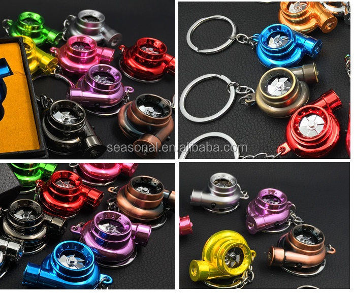 Colored Racing Car Auto Part turbo sound LED spinning fan keychain key ring