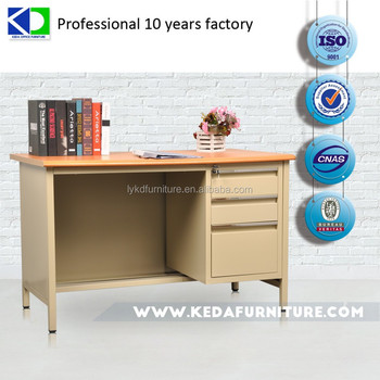 adjusting foot steel office desk with double cabinets/L1400*W700*750/wood-like MDF desktop