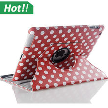 For iPad mini 1/2/3 360 Rotating Polka Dot PU Leather Case Cover Stand