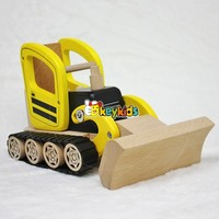 2017 wholesale kids play small wooden toys new design children toy bulldozer small wooden toys 04WA292-S