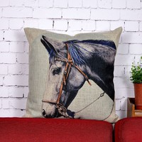 Cool Horse's Head Design Square Cushion Home Sofa Decorative Pillow Cover For Leaning On