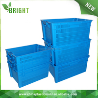 Outdoor mesh blue foldable vegetable plastic crate with hole