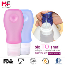 Outdoor portable squeeze silicone 50ml empty hand sanitizer bottle with carabiner
