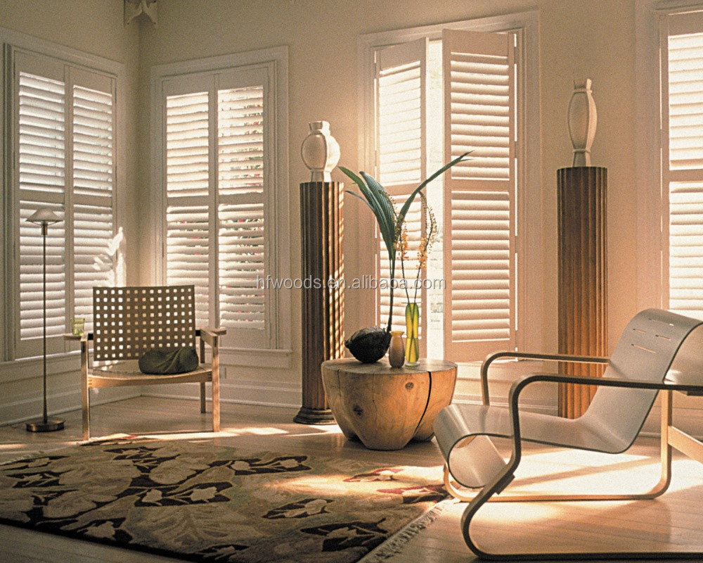 living room furniture louver with solid wood for window decoration