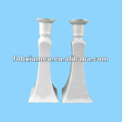 judaica gifts ceramic shabbat white candlesticks