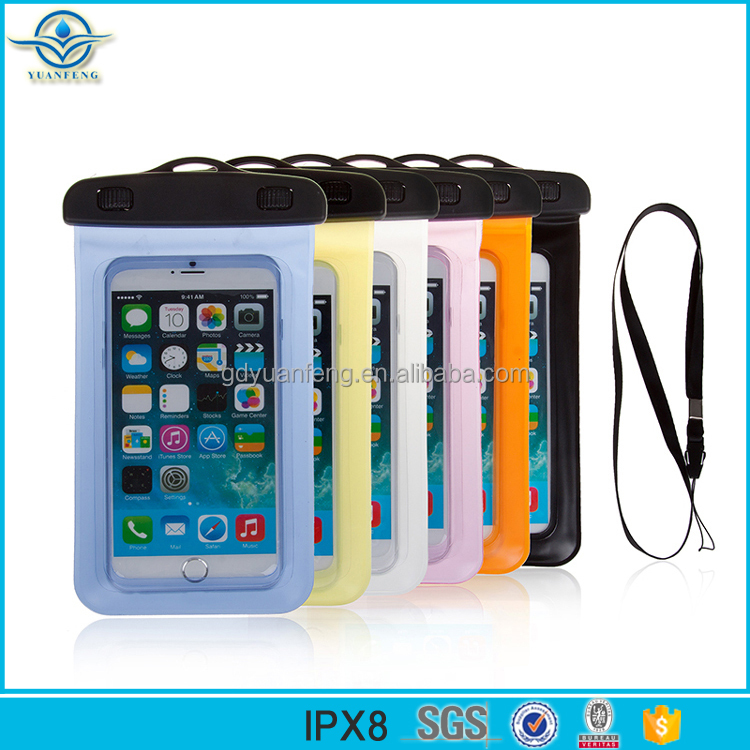 Popular pvc waterproof cell phone bag for mobile , waterproof smartphone bag phone case