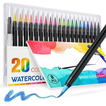 20 color pack best brush tip art markers set for kids drawing with watercolor paper pad