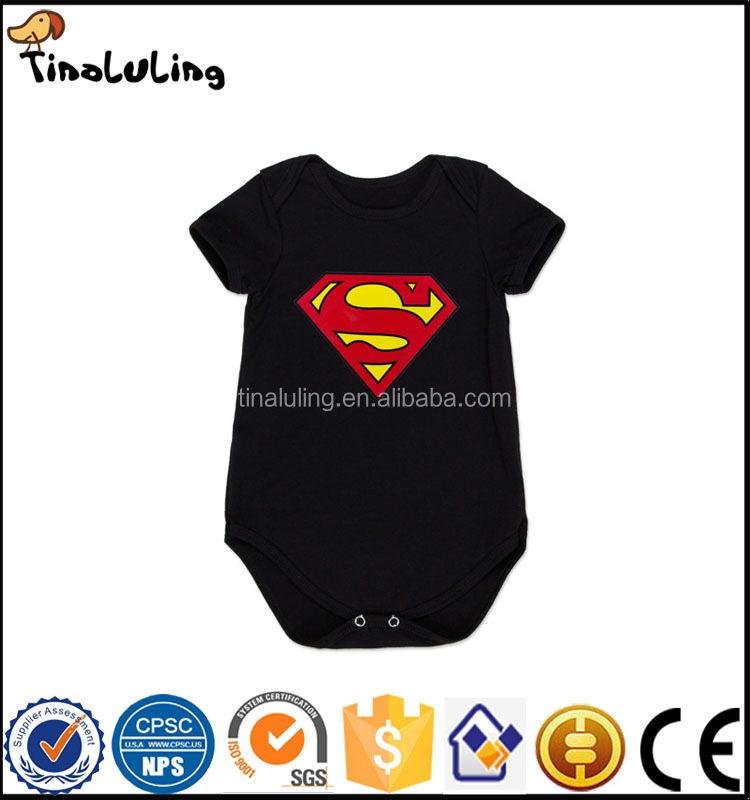 Baby Rompers Summer Style Powered Black Superman Baby Boy Girl Clothing