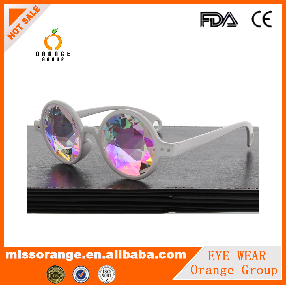 White Kaleidoscope Glasses multiply Lenses Ravers Diffraction prismatic lens Plastic Frame Party Club Sunglasses
