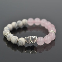 Fashion Handmade Natural Pink Agate and White Turquoise Stone Beads Bracelet With Heart Charm Bracelet Jewelry